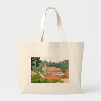 Black church in Brasov, Romania Large Tote Bag