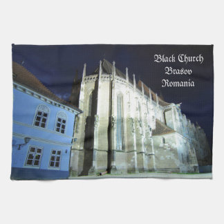 Black church in Brasov, Romania Tea Towel