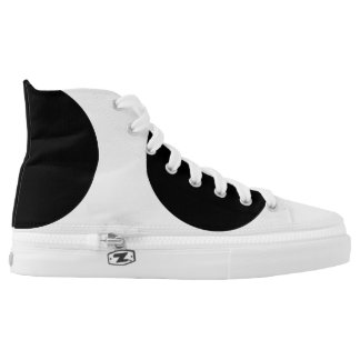 Black Circle Dot Spot Zips High Top Shoes Printed Shoes