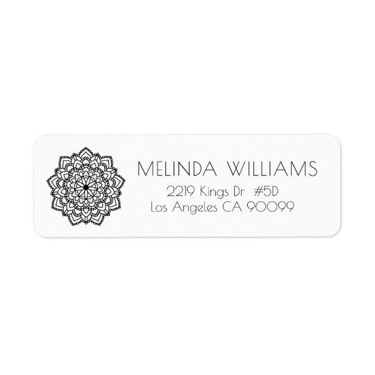 Black Circle Geometric Mandala Return Address Label