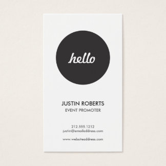 Black Circle Hello Logo Modern Business Card