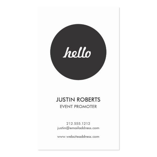Black Circle Hello Logo Modern Business Card