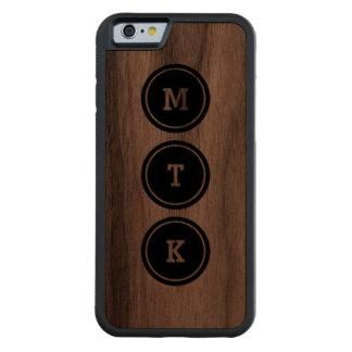 Black Circle Monogram Carved Walnut iPhone 6 Bumper Case