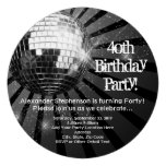 Black Circle Round Disco Ball 40th Birthday Party Personalized Invitations