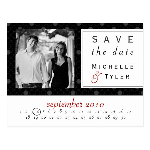 Black Circle Save the Date Card Post Card