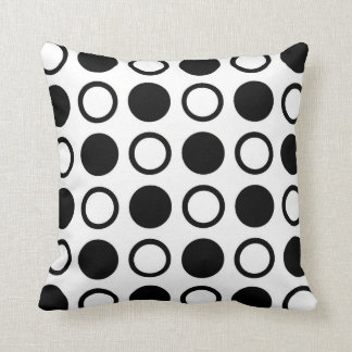 Black Circles and Polka Dots Cushion