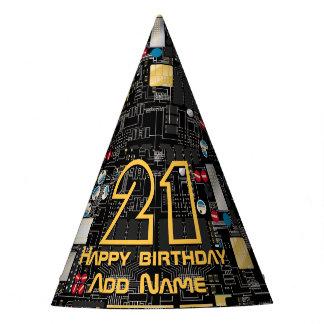 Black circuit board party hat