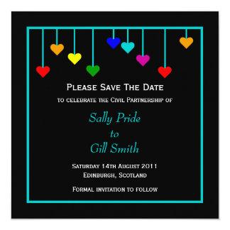 Black Civil Partnership Heart Save The Date 13 Cm X 13 Cm Square Invitation Card
