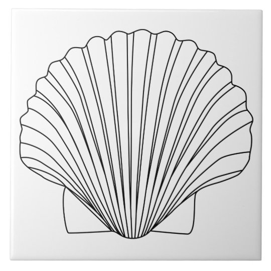Black Clam Scallop Seashell Tile