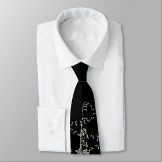 Black Clarinet and Silver Music Notes Tie