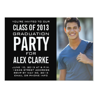 BLACK CLASS OF 2013 PARTY PHOTO INVITATION