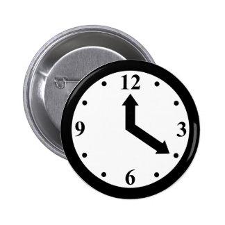 Black Clock 6 Cm Round Badge