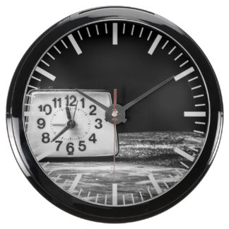 Black clock fish tank clocks