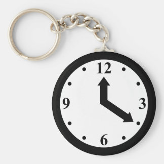 Black Clock Basic Round Button Key Ring