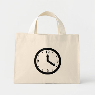 Black Clock Mini Tote Bag