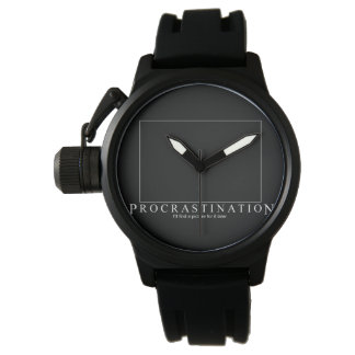 Black clock Procrastination Modern Watch