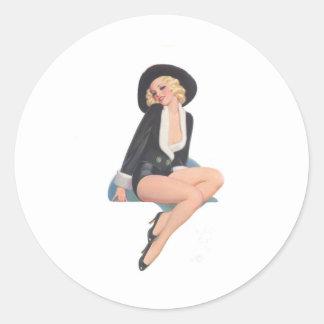 Black Coat Vintage Pinup Pose Classic Round Sticker