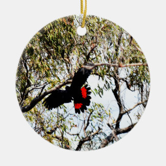BLACK COCKATOO IN FLIGHT QUEENSLAND  AUSTRALIA CHRISTMAS ORNAMENT
