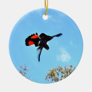 BLACK COCKATOO IN FLIGHT RURAL AUSTRALIA CHRISTMAS ORNAMENT