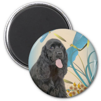Black Cocker Spaniel and Dragonflies Magnet