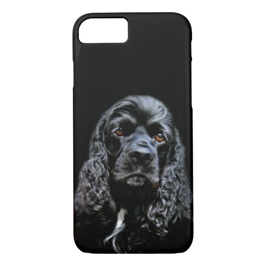 Black cocker spaniel face iPhone 7 case