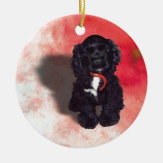 Black Cocker Spaniel Puppy - Abby Round Ceramic Decoration