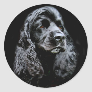 Black Cocker Spaniel Round Sticker