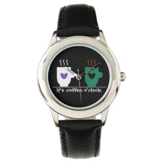 Black Coffee Humorous Simple Love Time Cool Couple Watch