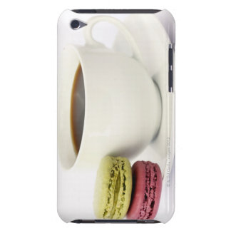Black coffee in white cup with two french barely there iPod cases
