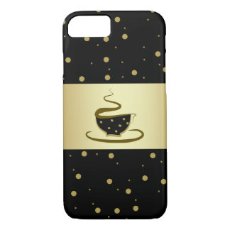 Black Coffee Love Hot Golden Dots Shiny Stylish iPhone 8/7 Case