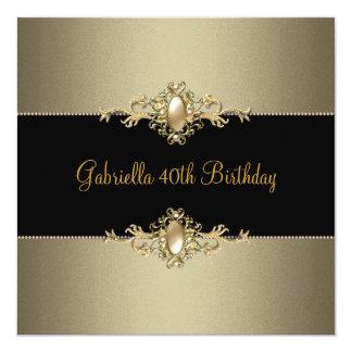 Black Coffee Pearl Trim 40th Birthday Party 13 Cm X 13 Cm Square Invitation Card