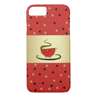 Black Coffee Red Love Hot Golden Dots Shiny Chic iPhone 8/7 Case