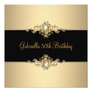 Black Coffee Trim 50th Birthday Party Pearl 3 13 Cm X 13 Cm Square Invitation Card