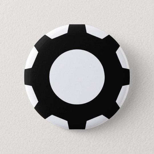 black cogwheel cog 6 cm round badge
