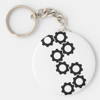 black cogwheels icon keychain