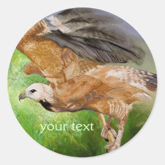 Black-collared Hawk Pastel Painting Round Sticker