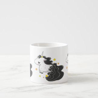 Black color cartoon unicorns with stars baby mug espresso mug