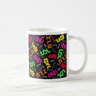 Black Colorful Electronic Texting Art Abbreviation Coffee Mug