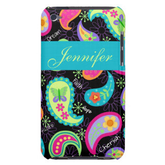 Black Colorful Modern Paisley Pattern Barely There iPod Cases