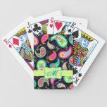 Black Colorful Modern Paisley Pattern Monogram Bicycle Playing Cards