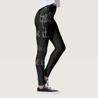 Black Colorguard Leggings with Quote
