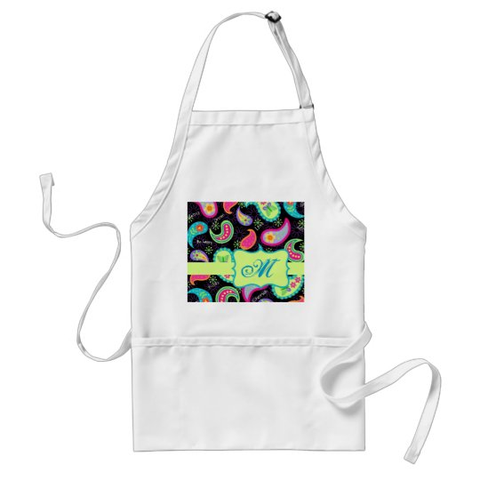 Black Colourful Modern Paisley Pattern Monogram Standard Apron