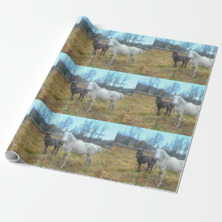 Black Colt White Horse Wrapping Paper