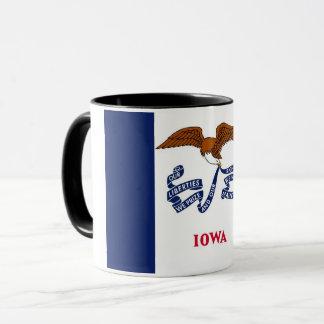 Black Combo Mug with flag of Iowa, USA