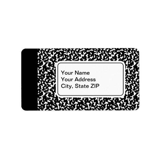 Black Composition Notebook Address Label