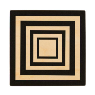 Black concentric squares wood coaster