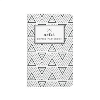 Black Contemporary Triangles Pattern Personalized Journal