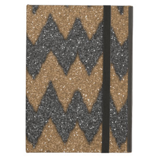 Black Cooper Girly ZigZag Glitter Photo Print Case For iPad Air
