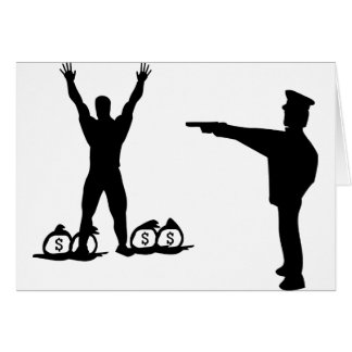 black cop and robber icon greeting card