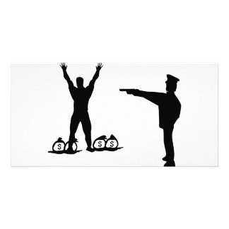 black cop and robber icon personalized photo card